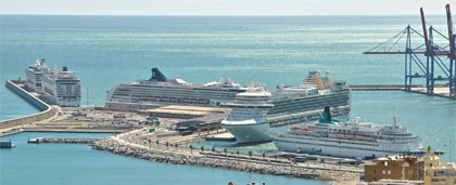 five cruises in Malaga port
