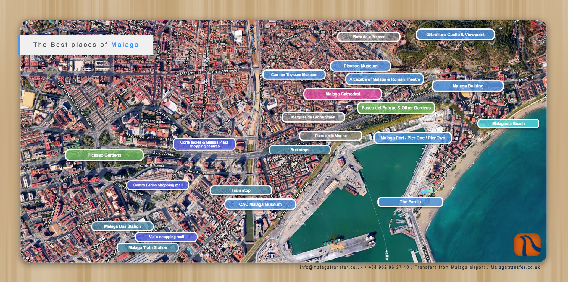 information guide about malaga city  malaga transfer - map of the best places of malaga